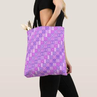 Pink purple rowing lettering tote bag