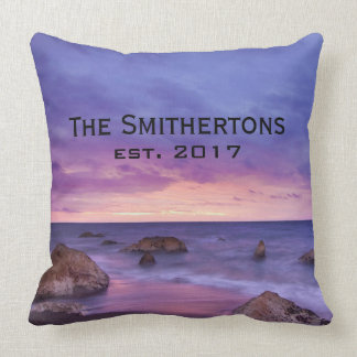 Pink Purple Skies Rocky Beach Sunset Family Name Throw Pillow