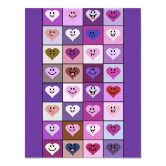 """Pink & Purple Smiley Heart Squares 4.25"""" X 5.5"""" Invitation Card"""