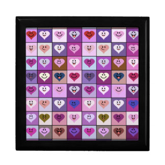 Pink & Purple Smiley Heart Squares Gift Box