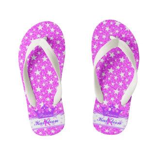 Pink Purple Sparkle Princess Kid's Flip Flops