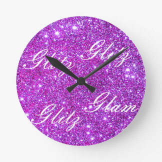 Pink Purple Sparkly Glam Glitter Designer Wall Clock