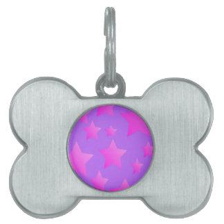 Pink/Purple Star Pattern Pet Tag