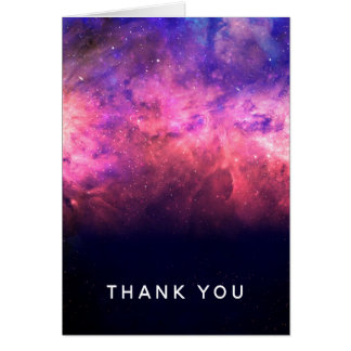 Pink Purple Starry Sky Cosmic Galaxy Sky Thank You Card