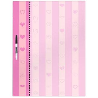 Pink Purple Stripes Modern Heart Pattern Dry Erase Board