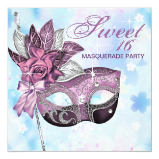 """Pink Purple Sweet 16 Masquerade Party 5.25"""" Square Invitation Card"""