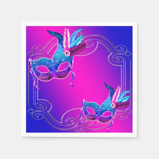 Pink Purple Teal Blue Masquerade Party Napkin