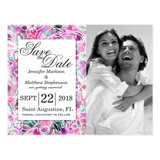 Pink Purple Teal Floral Outlined Save the Dates Postcard