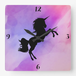 Pink Purple Textured Unicorn Clock