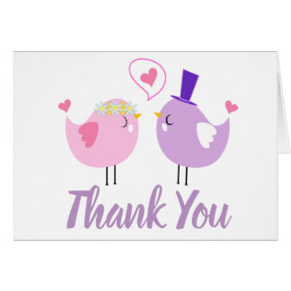 Pink & Purple Thank You Lovebirds Wedding Bridal Card