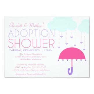 Pink Purple Umbrella Adoption Shower Invitation