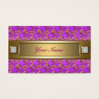 Pink Purple Violet Gold Swirls Elegant Business Card