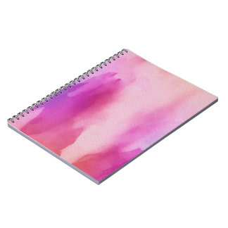 Pink & Purple Water Color Positive Space Spiral Notebooks