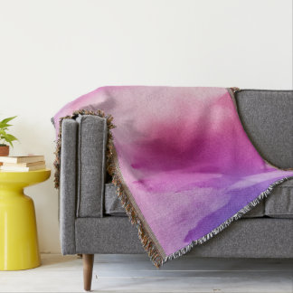 Pink & Purple Water Color Positive Space Throw Blanket