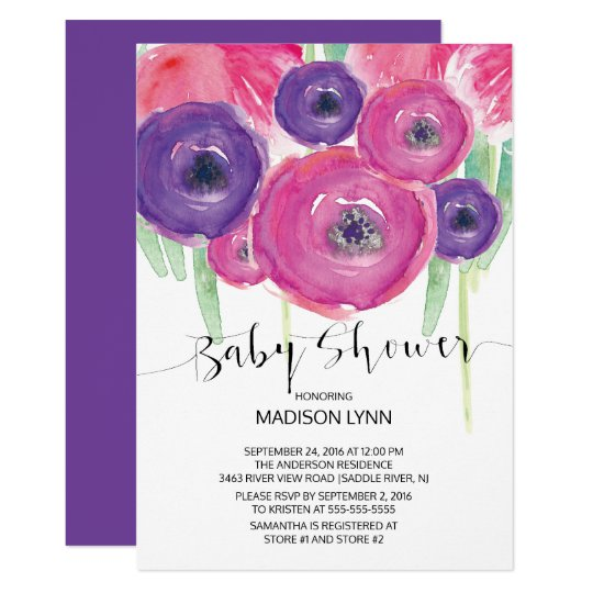 Pink Purple Watercolor Floral Girls Baby Shower Card