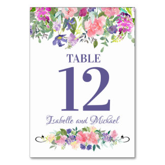 Pink Purple Watercolor Floral Wedding Table Number