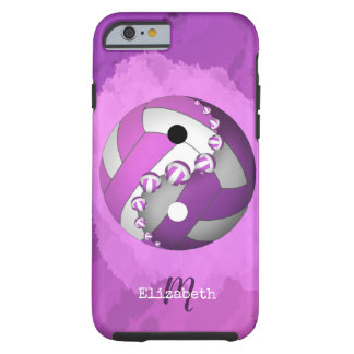 pink purple yinyang volleyball women's monogrammed tough iPhone 6 case
