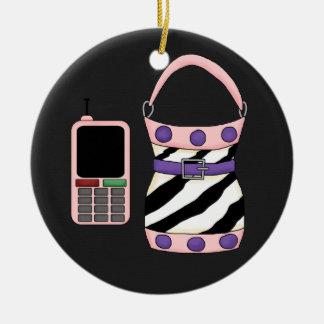 Pink Purple Zebra Stripe Purse and Pink Cell Phone Ceramic Ornament