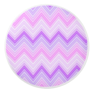 Pink & Purple Zigging Zags Ceramic Knob