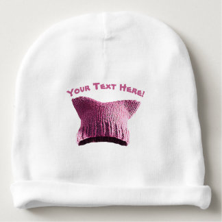Pink Pussy Cat Solidarity Baby Hat - Your Own Text Baby Beanie
