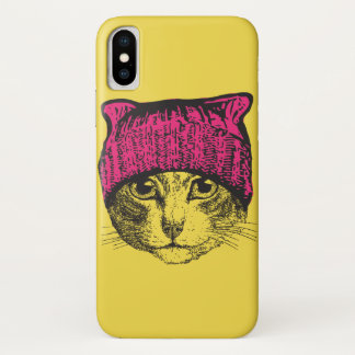 Pink Pussyhat iPhone X Yellow Case