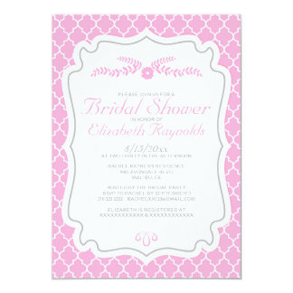 Pink Quatrefoil Bridal Shower Invitations