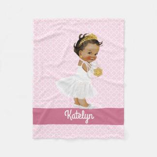 Pink Quatrefoil Pattern Ethnic Princess Nursery Fleece Blanket