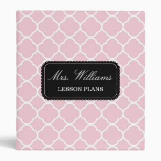 Pink Quatrefoil Pattern Lesson or Wedding Plans 3 Ring Binder