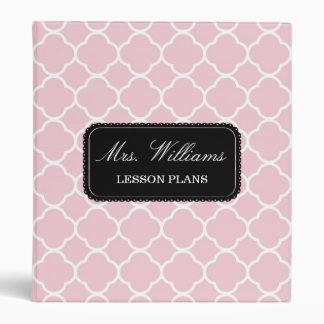 Pink Quatrefoil Pattern Lesson or Wedding Plans 3 Ring Binder