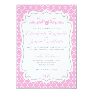 Pink Quatrefoil Wedding Invitations