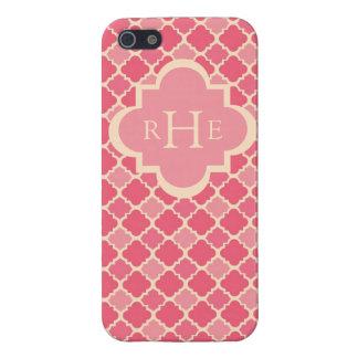 Pink Quatrefoil with Custom Monogram Case For The iPhone 5