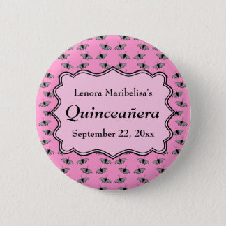Pink Quinceanera Design with Butterflies Pattern 2 Inch Round Button