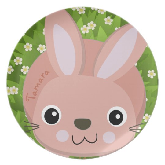 PINK RABBIT,  BUNNY IN GARDEN,  CUTE KIDS PLATE