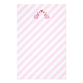 Pink Rabbits with Hearts. Stationery
