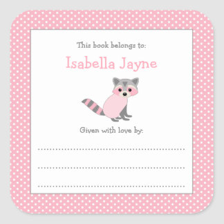 Pink Raccoon Baby Shower bookplate book sticker