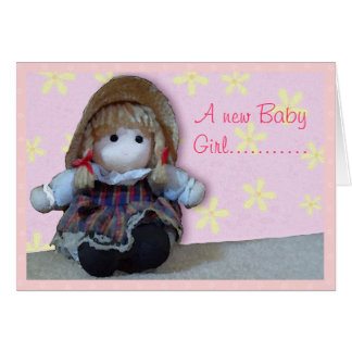 Pink Rag Doll New Baby Girl Congratulations Card