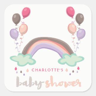 Pink Rainbow & Balloons Girl Baby Shower Sticker