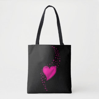 Pink Rainbow Heart with Stars on black Tote Bag