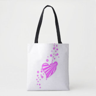 Pink Rainbow Heart with Stars Tote Bag