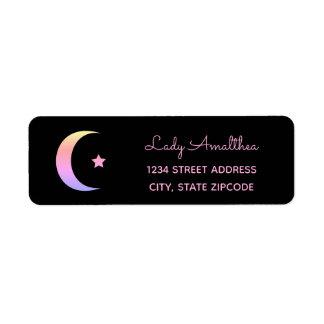 Pink Rainbow Moon And Star Address Label