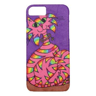 Pink Rainbow Striped Cat iPhone 7 Case
