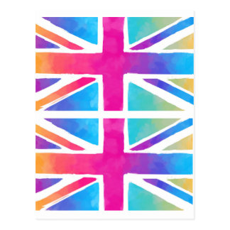 Pink Rainbow Watercolor British Flag Postcard