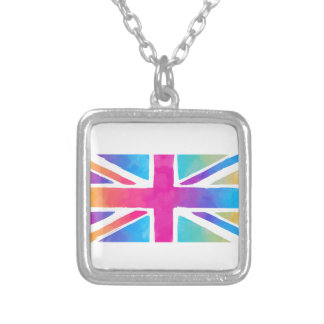 Pink Rainbow Watercolor British Flag Silver Plated Necklace