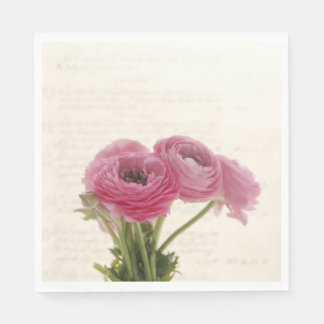 Pink ranunculus flowers on script napkin