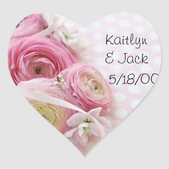 pink ranunculus on polka dots heart stickers