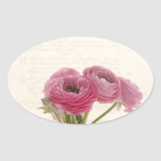 pink ranunculus on script oval stickers