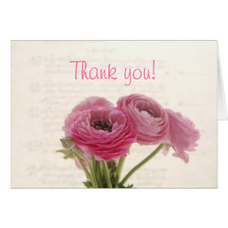 pink ranunculus on script thank you note card