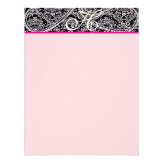 Pink Raspberry Monogram Letterhead Black Paisley
