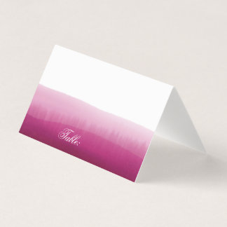Pink Raspberry Ombre Watercolor Blank Table Guest Place Card