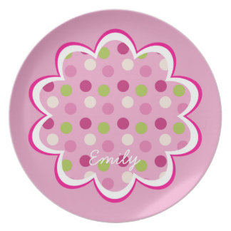 Pink Raspberry Polka Dots Child's Plate